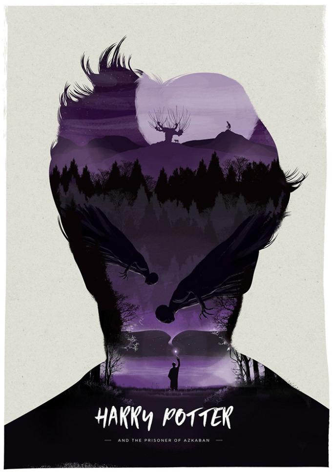 Harry Potter and the Prisoner of Azkaban by Simon Fairhurst - THE 10 COOLEST 'HARRY POTTER' ALTERNATE MOVIE POSTERS